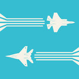 Jet fighter aircrafts. Flying on sky for your design Royalty Free Stock Photo