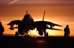 Jet fighter on carrier Stock Photo