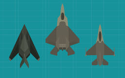 Jet fighter collection view from top Royalty Free Stock Photography