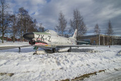Jet fighter exhibited outside museum Stock Photos
