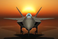Jet Fighter Head On. Jet Fighter in head on view Stock Photo