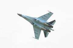 Jet fighter isolated. Russian jet fighter isolated against sky Stock Photography