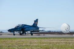 Jet fighter landing Royalty Free Stock Image