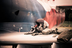 Jet fighter pilot equipment Royalty Free Stock Photos