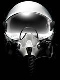Jet fighter pilot helmet on black. Background. Mionochrome drawing Stock Photo