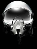 Jet fighter pilot helmet on black. Background. Mionochrome drawing Stock Photo