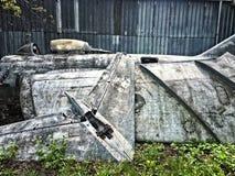 Jet Fighter Plane Disassembled anziana Immagine Stock Libera da Diritti
