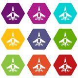 Jet fighter plane icon set color hexahedron. Jet fighter plane icon set many color hexahedron isolated on white vector illustration Stock Photo
