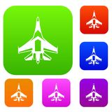 Jet fighter plane set collection. Jet fighter plane set icon in different colors isolated vector illustration. Premium collection Royalty Free Stock Photography