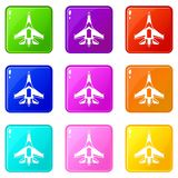 Jet fighter plane set 9. Jet fighter plane icons of 9 color set isolated vector illustration Stock Images