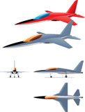 Jet fighter prototype. An illustration of modern jet fighter drawn in various projections and views Royalty Free Stock Image