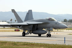 Jet fighter taxing stock image