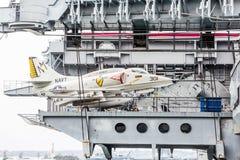 Jet Fighter Tied Down Stockbilder