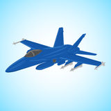 Jet fighter vector illustration. Military aircraft. Carrier-based aircraft. Modern supersonic fighter Stock Image