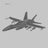 Jet fighter vector illustration. Military aircraft. Carrier-based aircraft. Modern supersonic fighter Stock Photos