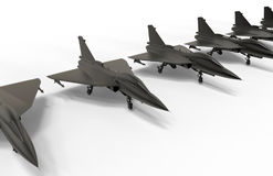 Jet fighters array on the ground. 3D render illustration of multiple jet fighter arranged in a line on the ground. The composition is isolated on a white Royalty Free Stock Photo