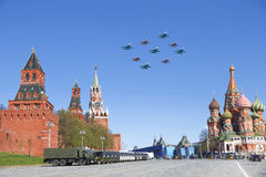 Jet fighters fly over Red square Royalty Free Stock Images