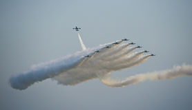 Jet fighters in formation during an air show Stock Image