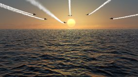 Jet Fly Over At Sunset. Fighter jets flying over ocean at sunset Stock Photo