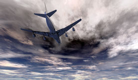 Jet flying beneath turbulent clouds Royalty Free Stock Photo