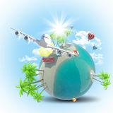 Jet flying near Earth with balloons Royalty Free Stock Images