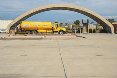 Jet Fuel Truck. An aviation fuel truck parked on an airport tarmac Royalty Free Stock Photography