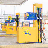 Jet gas pumps. Gas pumps at a Jet petrol station Royalty Free Stock Photos
