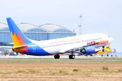 Jet2 holydais airlines landing maniobre in alicante airport Royalty Free Stock Image