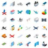 Jet icons set, isometric style. Jet icons set. Isometric style of 36 jet vector icons for web isolated on white background Royalty Free Stock Images