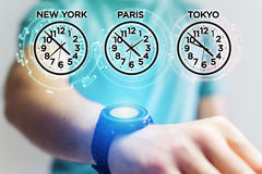 Jet lag concept with different hour time over a smartwatch. Jet lag concept view with different hour time over a smartwatch Royalty Free Stock Photos