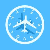 Jet lag / jetlag. Jet lag - confusion adn time desorientation during travelling by plane and airplane. Traveler`s Biorhythm disorder and problem in plane. Vector royalty free illustration