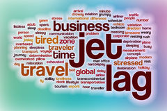 Jet lag word cloud with abstract background Royalty Free Stock Photography