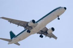 JET LANDING. An huge jet is landing Stock Photo