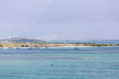 Jet Landing comercial en Aruba Imagenes de archivo