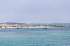 Jet Landing commerciale chez Aruba Images stock