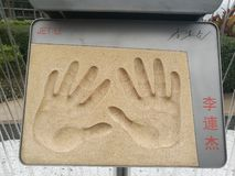 Jet Li handprints Hong Kong stock afbeeldingen