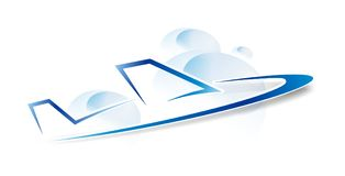 Jet logo in vector. Jet plane logo in clouds on white background in vector Stock Photos