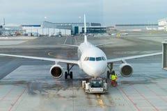 Jet messo in bacino in aeroporto Fotografia Stock Libera da Diritti