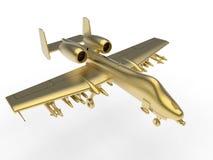 Jet militar de oro ilustración del vector