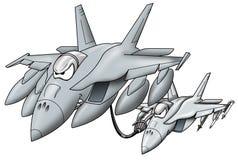 Jet militar de reaprovisionamiento de combustible que da el combustible a un gráfico de la historieta del avión de combate foto de archivo libre de regalías