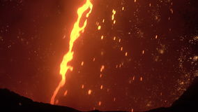 Jet of molten iron with sparks stock video