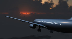 Jet Passenger Aircraft between clouds and gloom sky Stock Photo