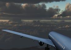 Jet Passenger Aircraft entre le ciel sombre de nuages Illustration Libre de Droits