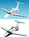 Jet passenger airplane. The jet passenger airplane in  format. Color and black Stock Photos