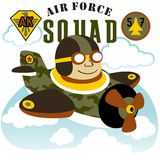 Jet pilot. Air patrol with military plane, vector cartoon illustration. vector on EPS 10 Stock Photography