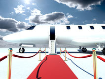 Jet plane. 3d jet plane and red carpet Stock Photos