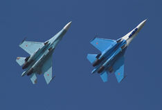 Jet plane on air-show. Two jet planes on air-show Stock Photo