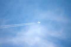 Jet plane on blue sky Stock Photography
