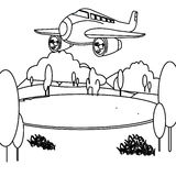 Jet plane coloring page. Hand drawn big jet plane coloring page for kids Royalty Free Stock Images