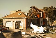 Jet plane crash site 2 of 3. Destruction caused in a neigborhood by a plane crash Stock Photo